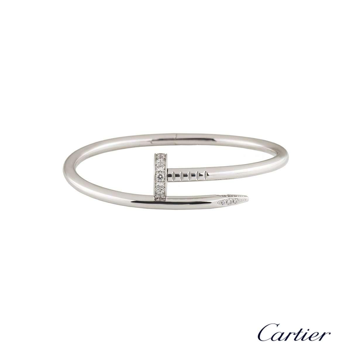 Cartier White Gold Diamond Juste Un Clou Bracelet Size 18 B6037918